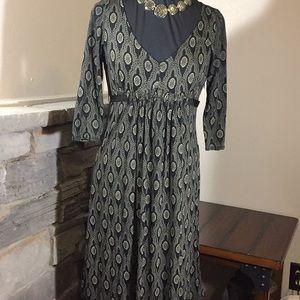 Loft Dark Green & Tan Dress Size 8 Petite